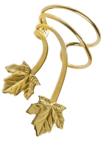 Maple Leaves Short Gold Vermeil Ear Cuffs Earrings