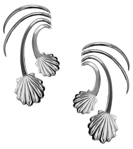 Ear Charm's Sea Shells Non-Pierced Rhodium on Silver Wave Ear Cuff Earrings