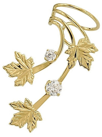 Maple Leaves & Cubic Zirconia Long Gold Vermeil Ear Cuffs Earrings