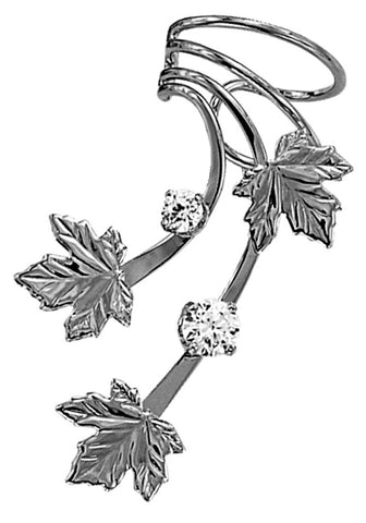 Maple Leaves & Cubic Zirconia Long Sterling Silver Ear Cuffs Earrings