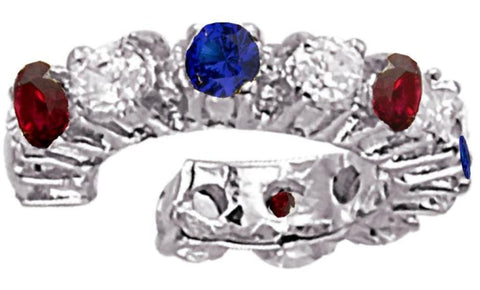 Patriotic Red, White, & Blue CZ Tennis Band Style Sterling Silver Ear Cuff Earrings