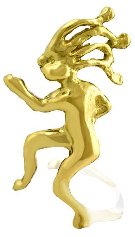 Jogging Kokopelli Gold on Silver Ear Charm's Unisex Left Ear Cuff Earrings
