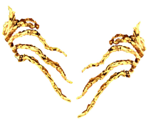 """Sea Kelp"" Ear Cuff Earrings Non-Pierced Gold on Silver"