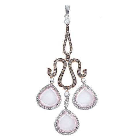 18K Gold Two-Tone Rose Quartz & Diamond Chandelier Pendant