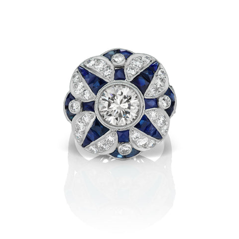 Diamond & Sapphire Ring in Platinum
