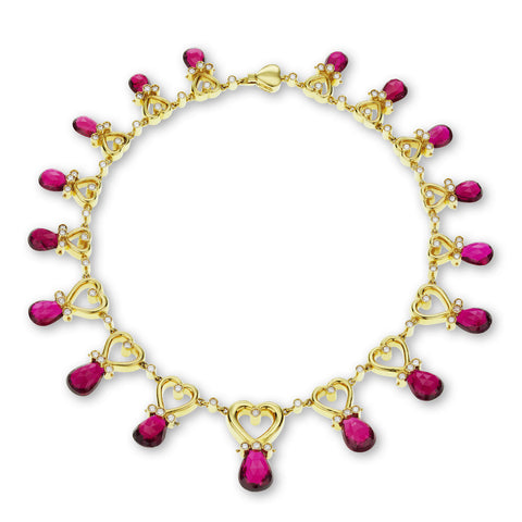 18K Yellow Gold Rubellite & Diamond Necklace
