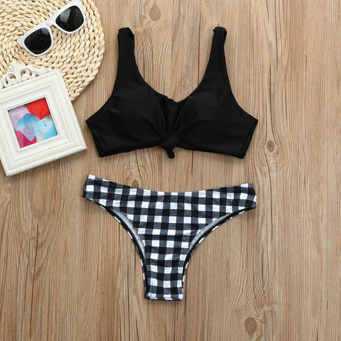 black and white checkered bikini with accessories