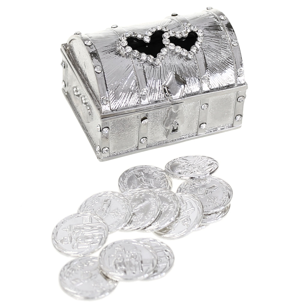 Wedding Unity Coins - Arras de Boda - Double Heart Crystal Chest Box