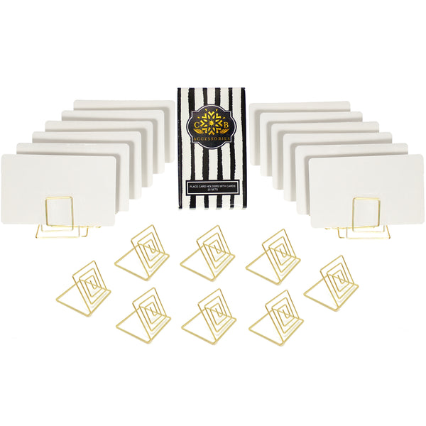 Wire Place Card Holder Stands with White Cards (20 sets)
