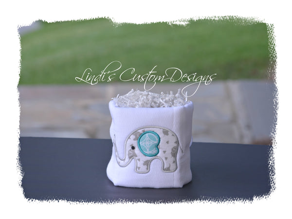 Embroidered Elephant Mini Diaper Cake Gift