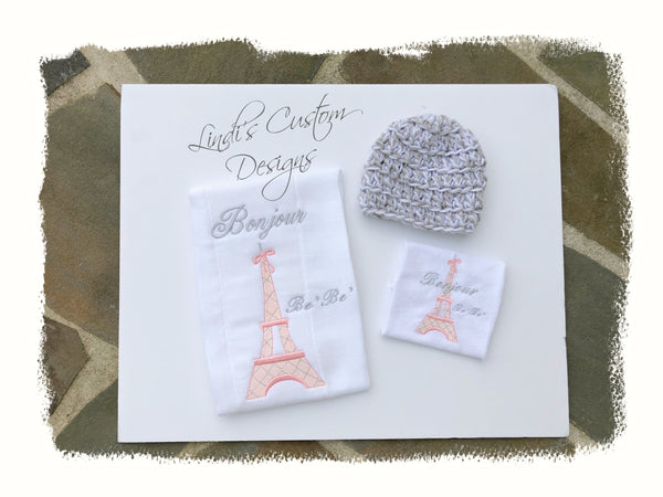 Eiffel Tower Embroidered Baby Gift Set