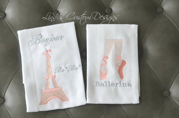 Embroidered French Eiffel Tower Ballerina Burp Cloth Set