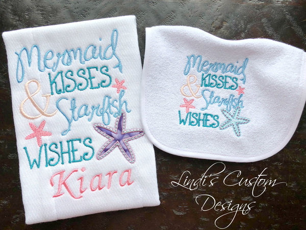 Mermaid Embroidered Bib Burp Cloth Set