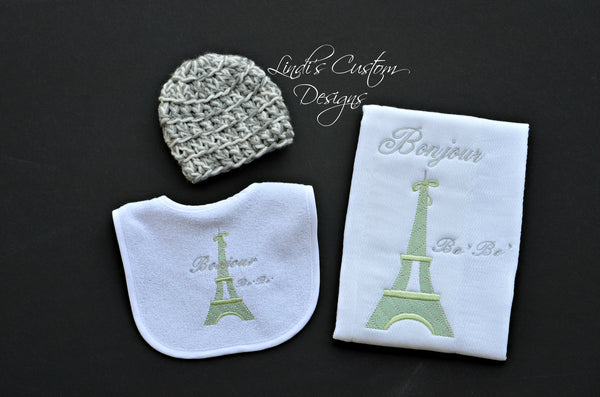 Gender Neutral Baby Gift Set, Eiffel Tower Theme