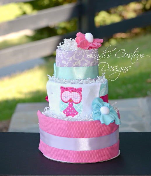 Owl Diaper Cake Girl