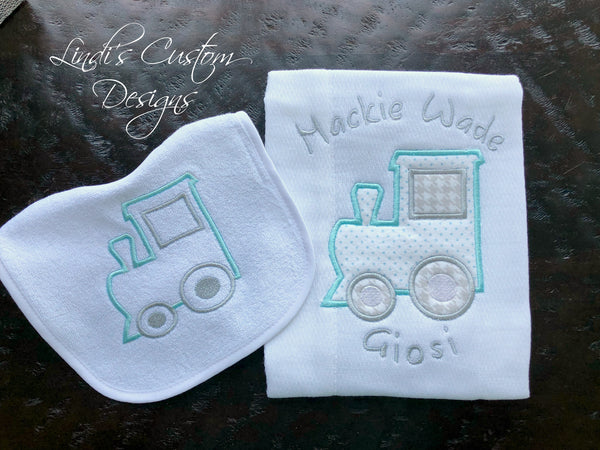 Boy Bib Burp Set Train Theme