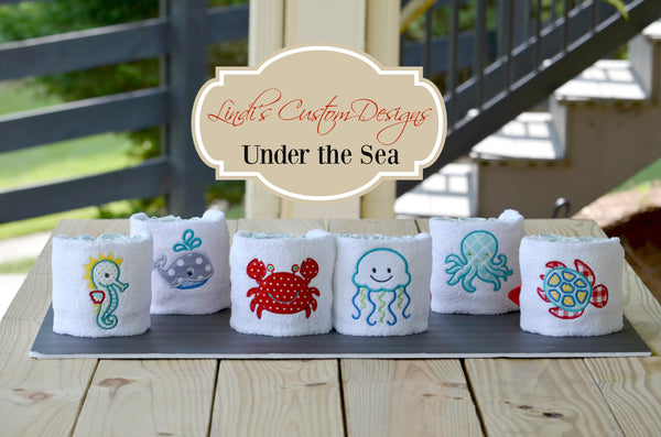 Under the Sea Embroidered Baby Shower Diaper Cake Set