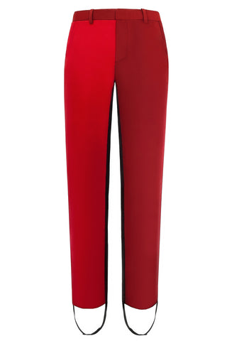 "Cimone's ""Pipe"" trouser has a neat, slim, straight leg. Fabricated in two-tone red wool with a black side stripe extending into a stirrup. Worn on the AW17 catwalk at London Fashion Week with our Dietrich fitted jacket for an unusual elegant suit."