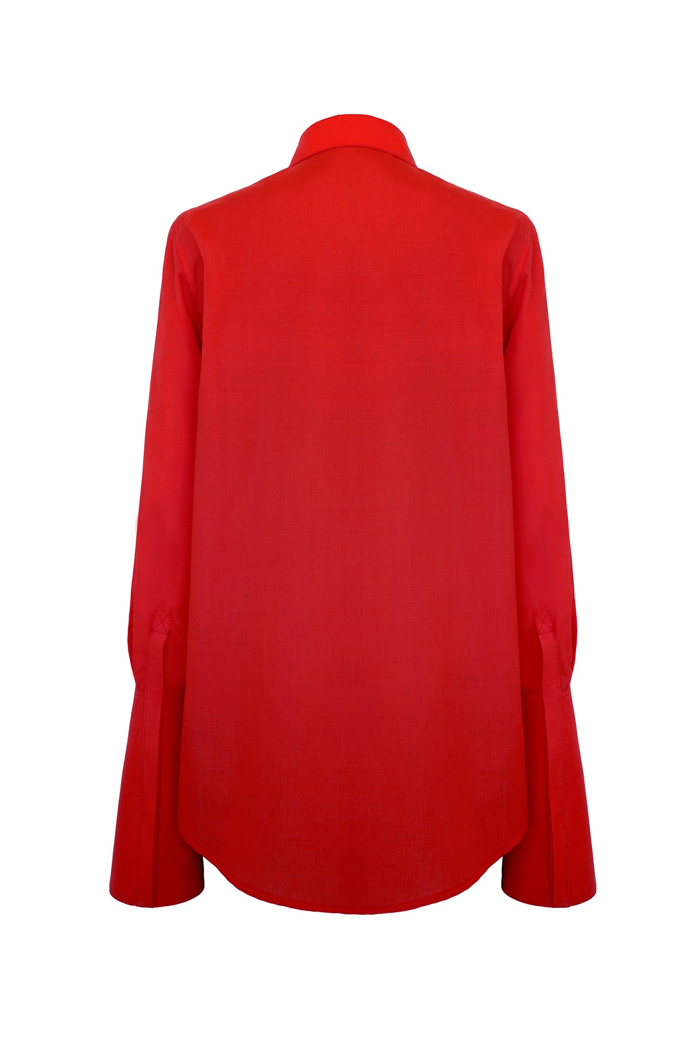 A modern twist on a classic, this red shirt features an unusual elongated collar and long, conical and graphic cuffs. First worn on the AW17 catwalk.