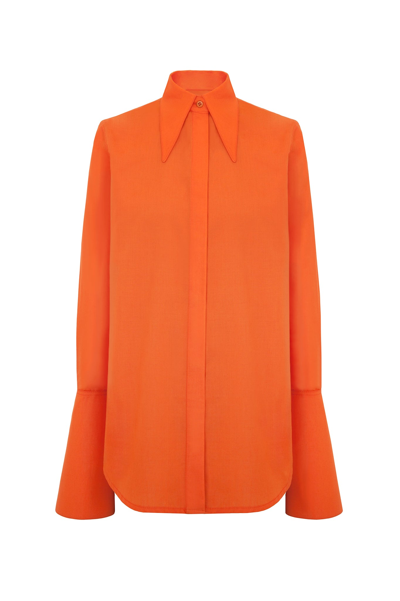 A modern twist on a classic, this orange shirt features an unusual elongated collar and long, conical and graphic cuffs. First worn on the AW17 catwalk.