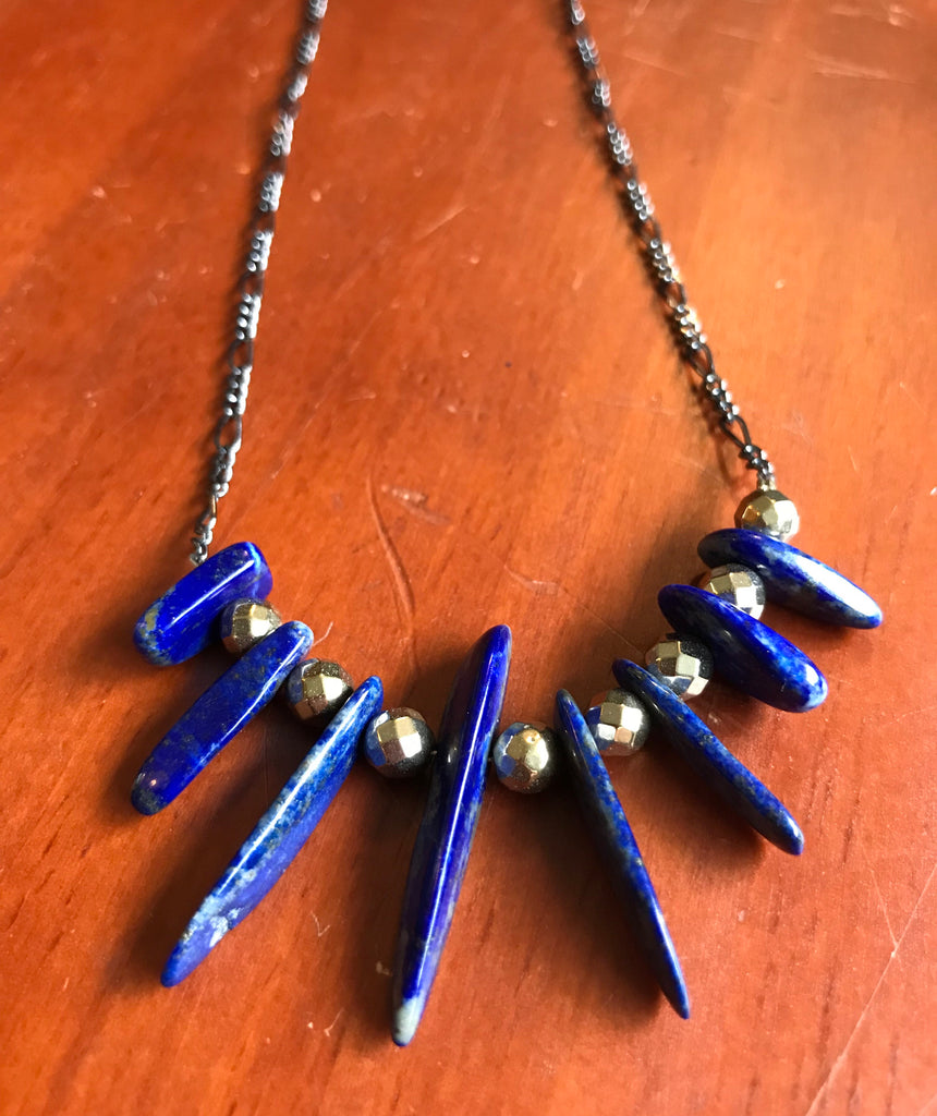 Lapis stick necklace