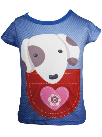 Pocket Pooch - Girls Kawaii T-shirt - deezo the happy fashion