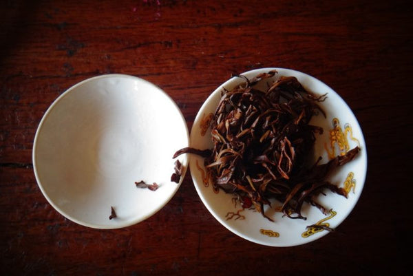 black tea wet leaves in a gaiwan