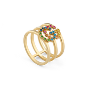 GG Running 18kt yellow gold and colored stone stacked ring