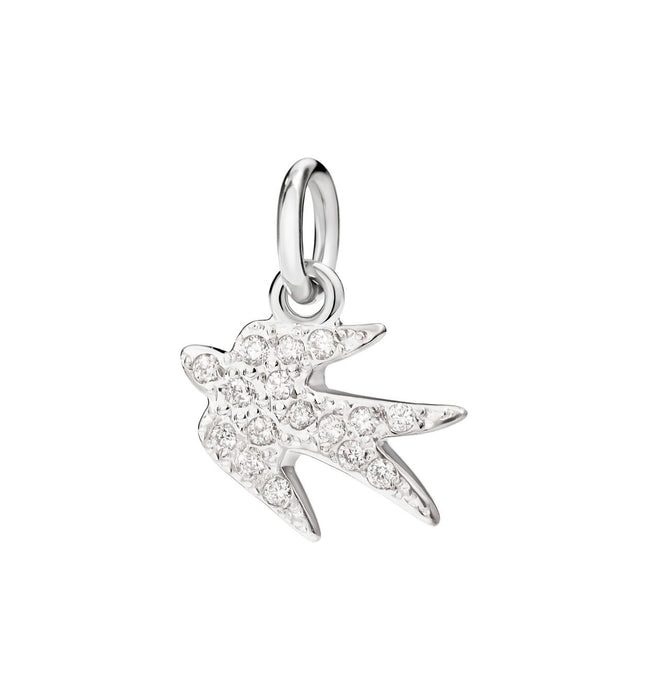"Dodo Swallow Charm White Gold and White Diamonds ""Come back to me"""
