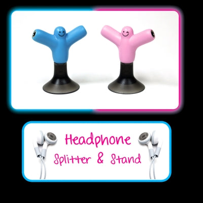 Headphone Splitter and Stand Pink