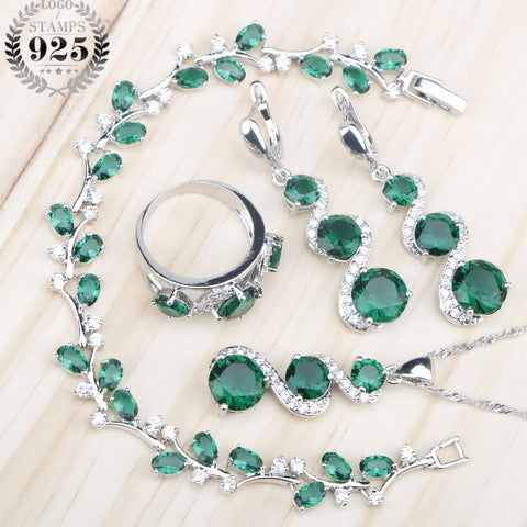 Green Crystal Leaf Detailing Sterling Silver Jewelry Set