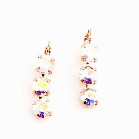 AB -Aurora Borealis Triple Crystal Earrings in Rose Gold