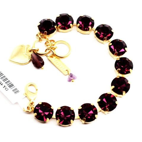Amethyst Large Crystal Bracelet in Yellow Gold