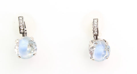 11MM  Blue Givre Crystal Earrings with Embellished Lever in Silver