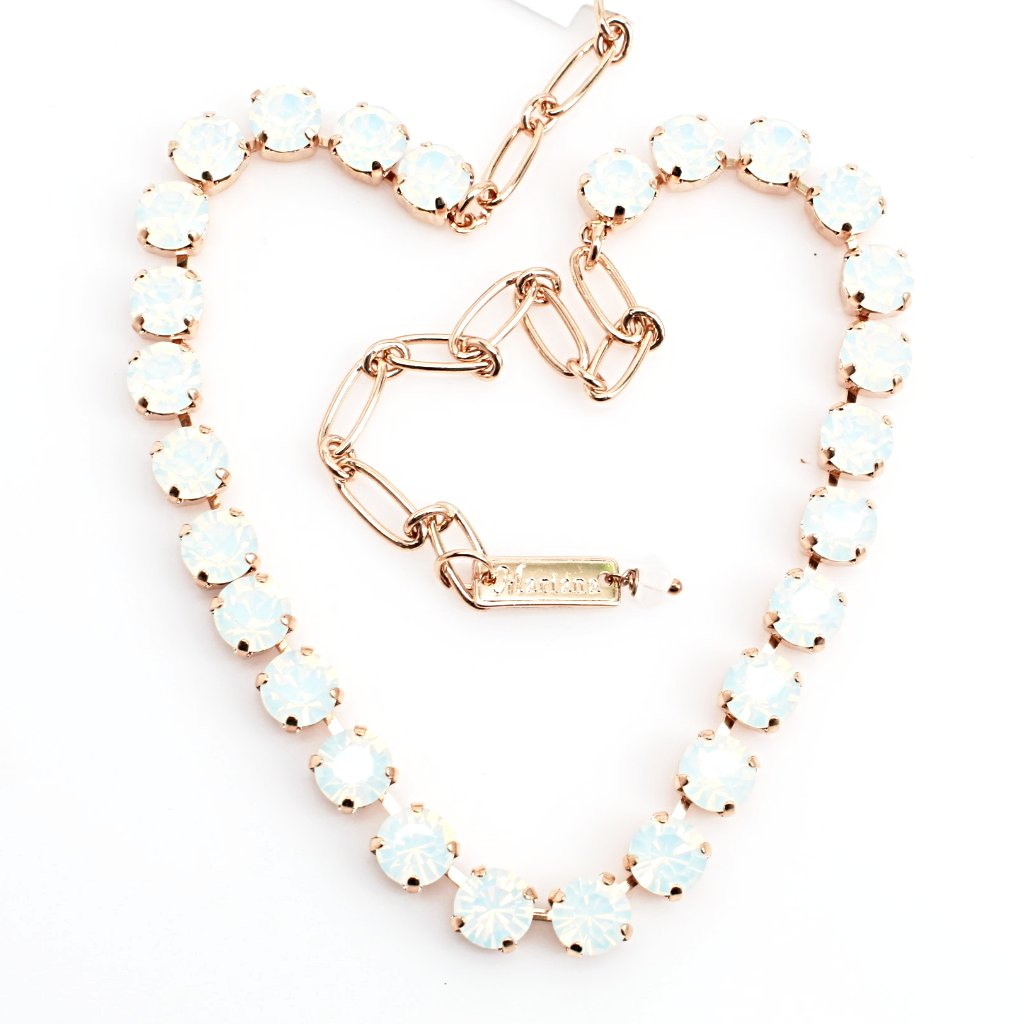 White Opal 8.5MM Crystal Necklace in Rose Gold