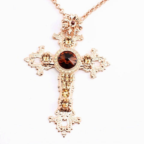 Aphrodite Collection Large Cross Necklace in Rose gold