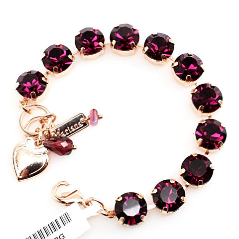 Amethyst Large Crystal Bracelet in Rose Gold