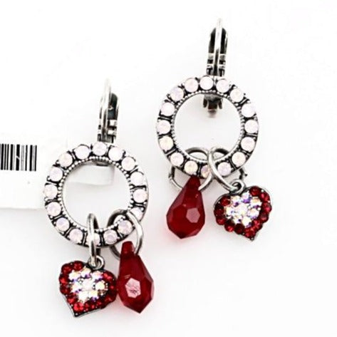 True Romance Collection Heart Charm Crystal Earrings