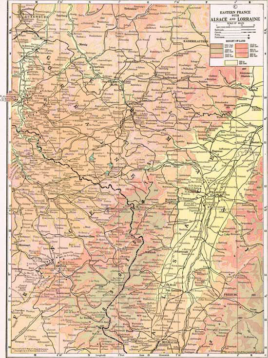 1910 Map of Alsace Lorraine