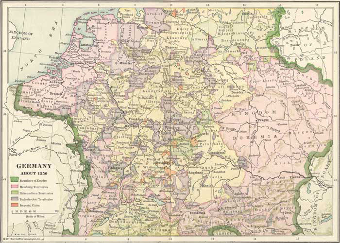 1550 Map of Germany