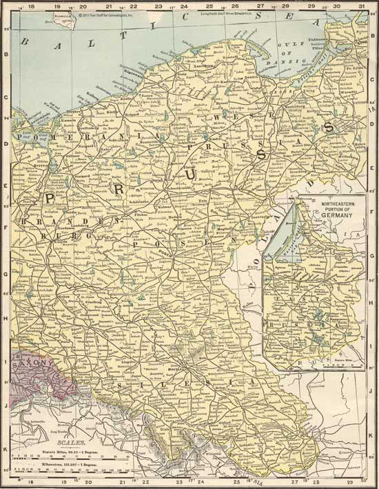 1895 Map of Eastern Germany
