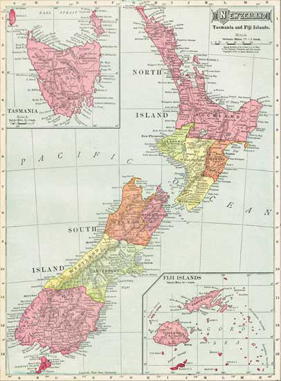 1908 Map of New Zealand