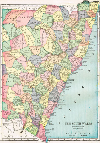 1902 Map of New South Wales, Australia
