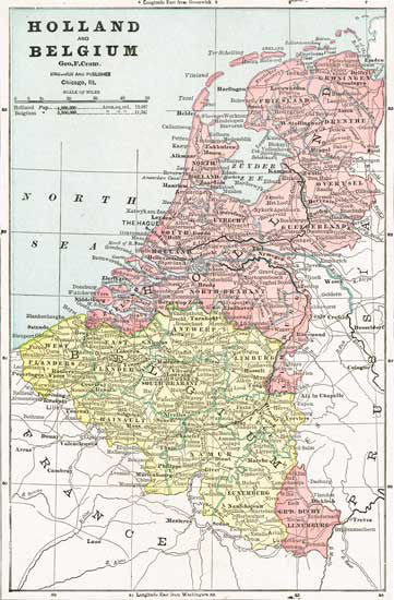 1888 Map of Holland and Belgium