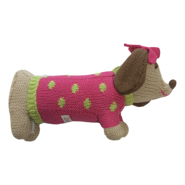 "Zubels Dachshund 7"" Hand Crochet Rattle - Frolicstyle"