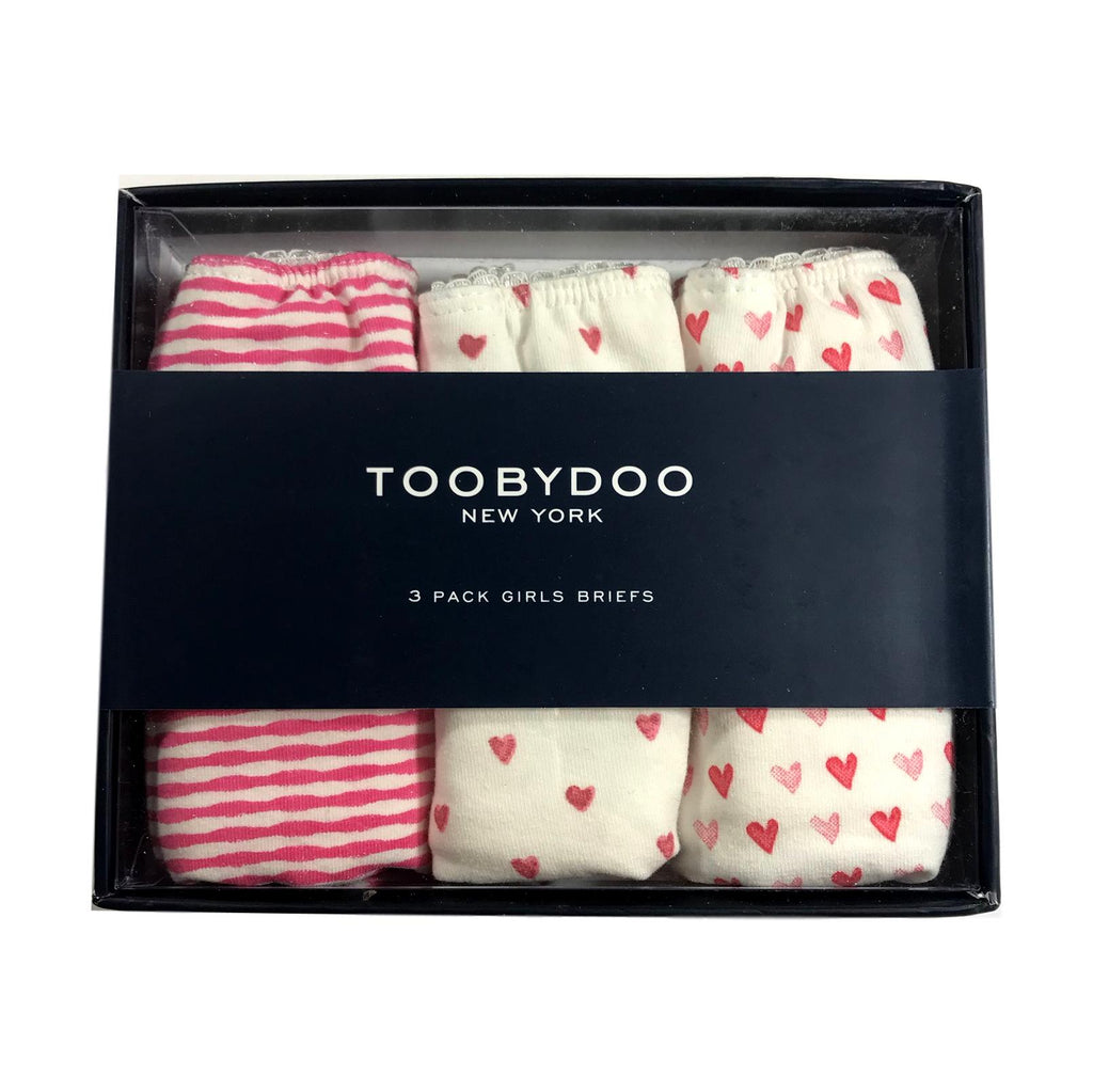 Toobydoo Girls 3 Pack Pink Hearts Underwear