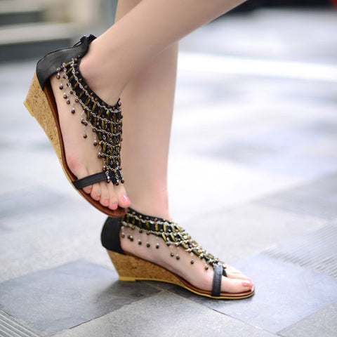Trendy Design Ankle Strap Wedge Sandals