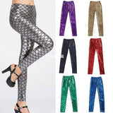 Womens Trendy Mermaid Fish Scale Skinny Fit Leggings
