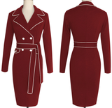 Womens Elegant Belted Stylish Office Sheath Dress