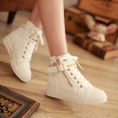Trendy Rivet Ankle Strap Zip Stylish Sneakers